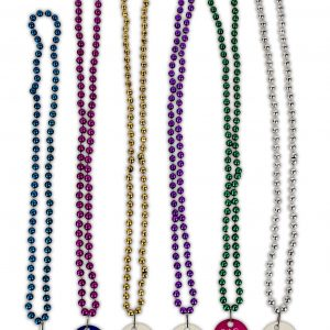 Mardi Gras Beads with printed disk BE-MARD-DIS Event Promotions Mardi Gras Beads