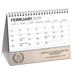 Wood Paper Desk Flip Calendars w/ hemp paper sheets JJC-4000-WP/SP Calendars Desk Flip Calendars