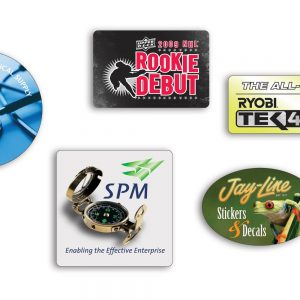"Roll Stickers - White Polyester - Up to 2"" x 2"" RS-WP-SMALL Roll Stickers Simple Roll Sticker Shapes"