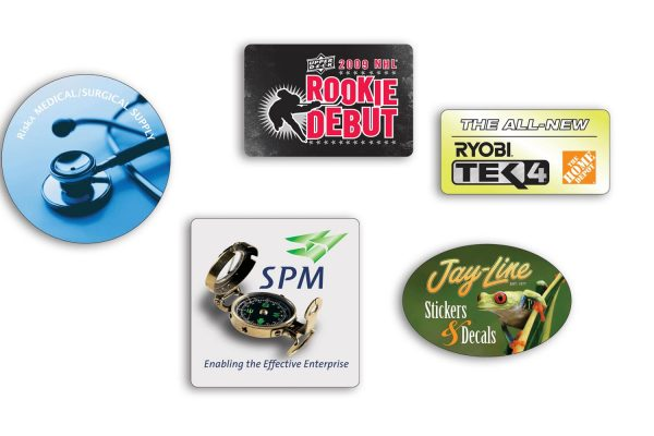 """Roll Stickers - White Polyester - Up to 2"""" x 2"""" RS-WP-SMALL Roll Stickers Simple Roll Sticker Shapes"""