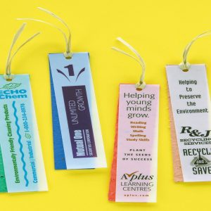 Velum Seeded Bookmark With Raffia Tie SP-1200 Seeded Products Seeded Paper Bookmarks
